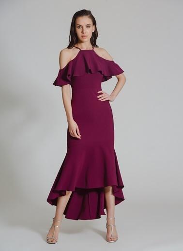 People By Fabrika Volanlı Abiye Elbise Mor